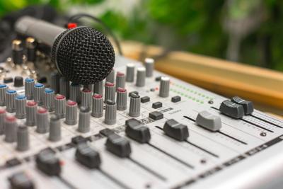 Closeup of a microphone